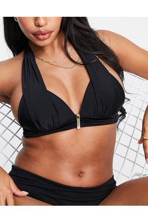 Pour Moi Fuller Bust Cote D'Azure padded non wired halter top in black