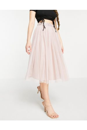 Maya Tulle midi skirt co ord with slit in frosted pink