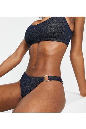 Wolf & Whistle Mujer Bikinis - Fuller Bust Exclusive high leg bikini bottom with ring detail in metallic navy