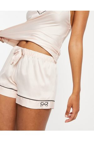 Hunkemoller Satin cami shorts with bow detail in pink