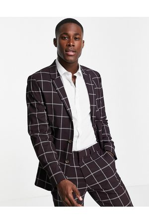 ASOS Skinny suit jacket with window pane check in burgundy