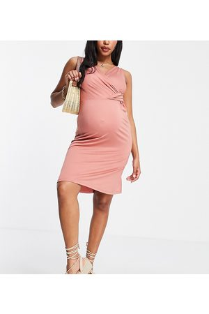 Mama Licious Mamalicious jersey wrap dress in pink