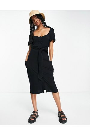 French Connection Square neck button down jersey dress in black