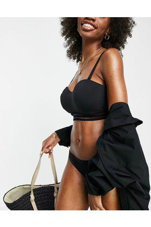 Figleaves Fuller bust cara underwired bandeau bikini top in black