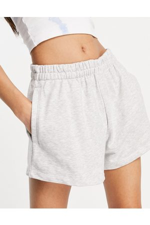 Weekday Kama organic blend cotton pull on shorts in light grey