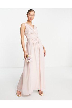 Little Mistress Bridesmaids v neck maxi dress in pink