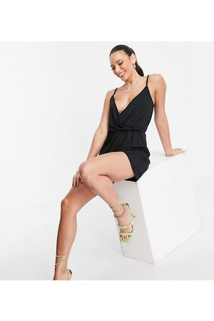 Threadbare Tall Wrap front cami strap jersey playsuit in black