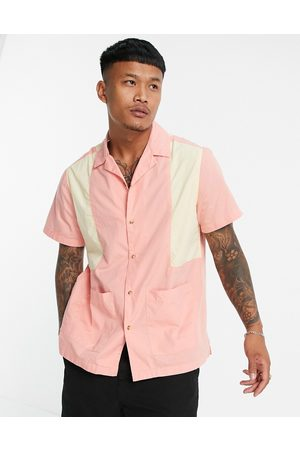 ASOS Patchwork bowling shirt with revere collar in pink
