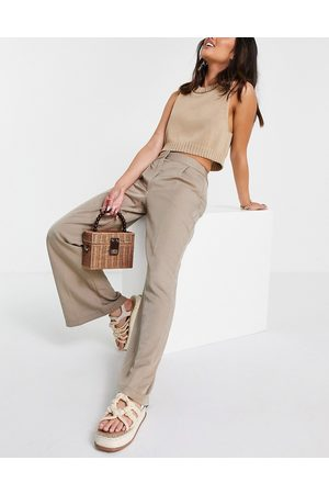 Closet Slouchy flare tailored trouser in light beige