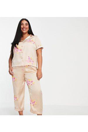 VERO MODA Satin shirt and short pyjama set in gold floral