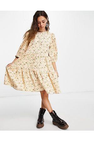 VILA Tiered smock dress in print