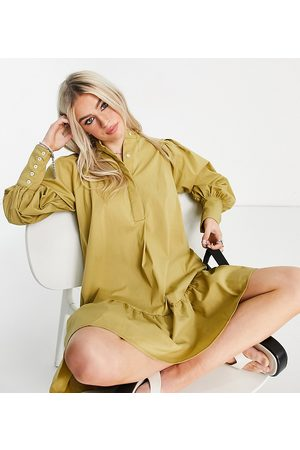 Y.A.S Mujer Cortos - Organic blend cotton mini smock dress with deep cuffs in khaki