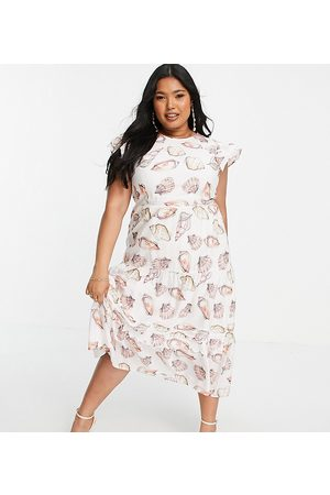 Never Fully Dressed Mujer Midi - Tiered smock midi dress in pink seashell print