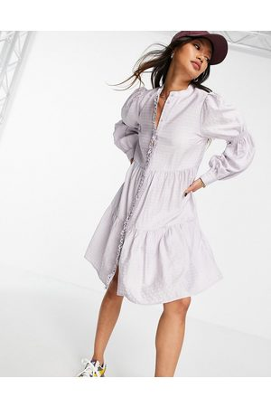 Y.A.S Shirt mini dress with tiering and shirred arms in grey check
