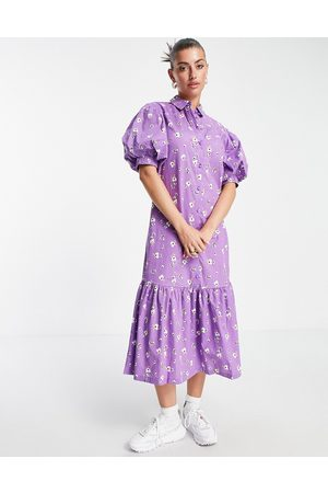 VILA Midi shirt dress with puff ball sleeves in floral print