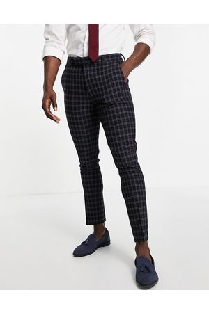 ASOS Wedding super skinny wool mix suit trousers with grid window check in navy