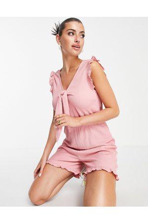 VILA Mujer Cortos - Tie front playsuit in pink