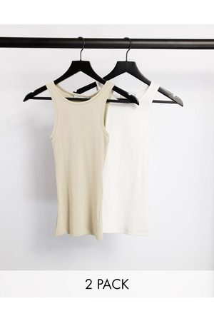 Weekday Stella organic cotton 2 pack rib racer vest in white and beige