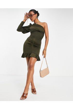 Ax Paris One shoulder mini dress in olive