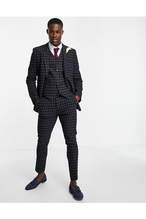 ASOS Wedding super skinny wool mix suit jacket with grid window check in navy with chain detail
