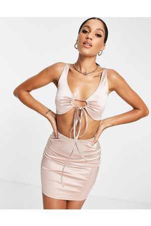 Flounce London Satin mini dress with strappy detail in mink