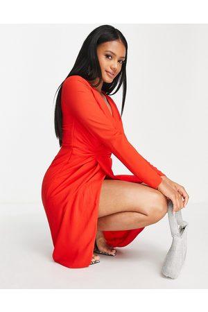TFNC Wrap midi dress in red
