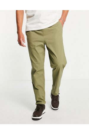 ASOS Relaxed trousers with elasticated waist in khaki