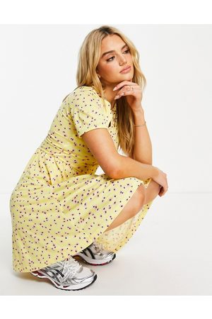 French Connection Ditsy floral jersey mini dress in yellow