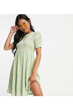ONLY Mini dress with ruched sleeve detail in green floral print