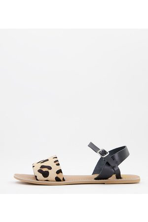 Rule London Wide fit leather two part flat sandals in black and leopard