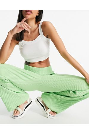 Weekday Katherine organic cotton ribbed trousers in green co