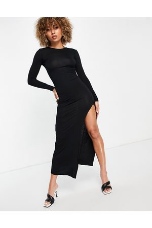 I saw it first Mujer Maxi - Jersey maxi dress with side split in black