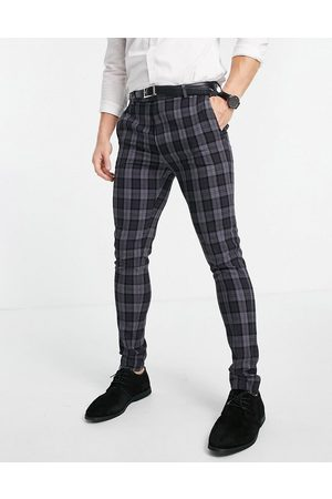 ASOS Super skinny suit trousers in oxford check in charcoal