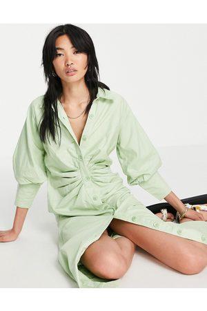 Pretty Lavish Tucked waist shirt midi dress in green