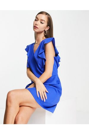 French Connection V neck jersey dress in blue