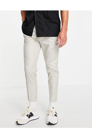ASOS Tapered smart linen trousers in cream prince of wales check