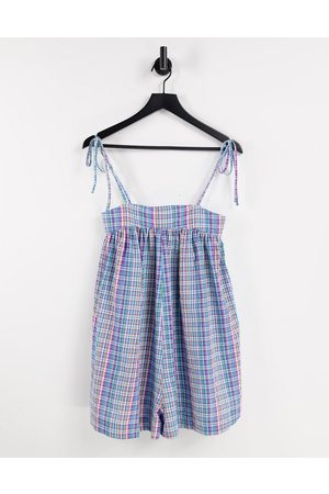 ASOS Mujer Cortos - Tie shoulder swing playsuit in mutli check