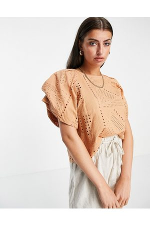 Y.A.S Organic cotton broderie frill sleeve top in sand