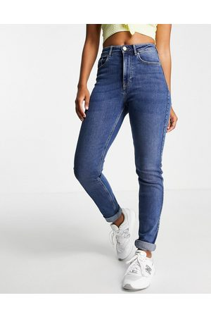 Pieces Mujer De cintura alta - High waisted slim mom jeans in mid blue wash