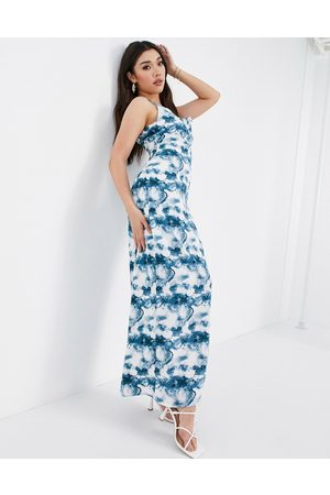 Missguided Mujer Maxi - Tie dye maxi dress in blue
