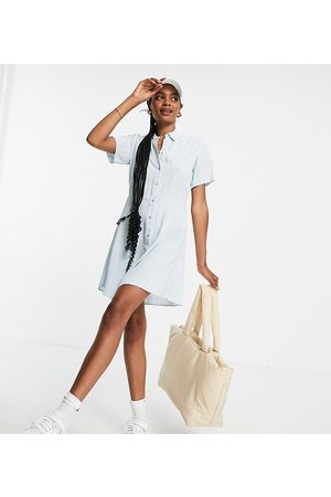 Pieces Exclusive mini shirt dress in blue floral
