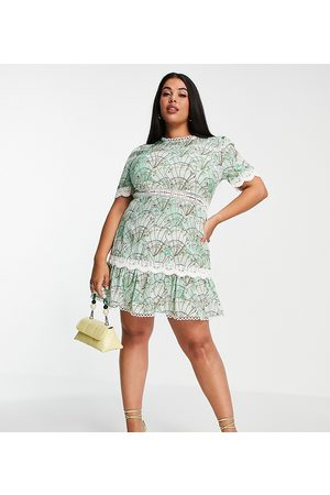 Never Fully Dressed Contrast lace mini dress in mint sea shell