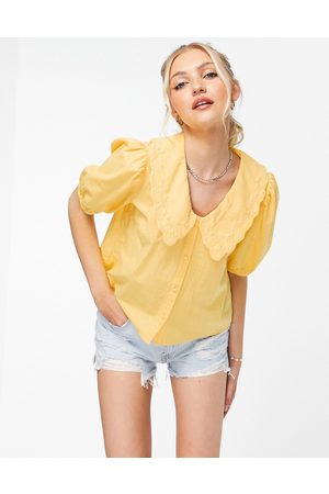 Pieces Collar detail puff sleeve blouse in yellow