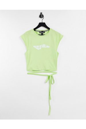 House of Holland Logo tie detail crop top in wasabi green