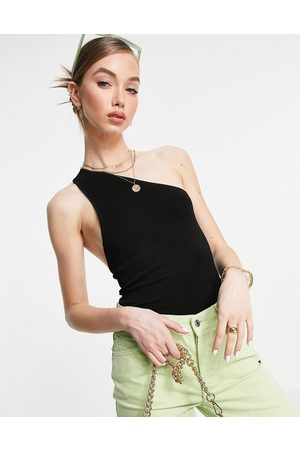 & OTHER STORIES One shoulder open back knitted top in black