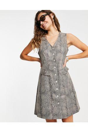 Vero Moda Faux leather button down dress in snake