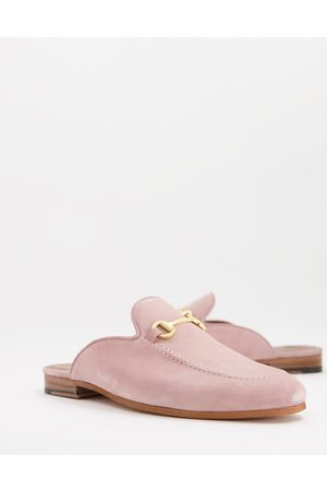 WALK LONDON Terry bar backless mule loafers in pink suede