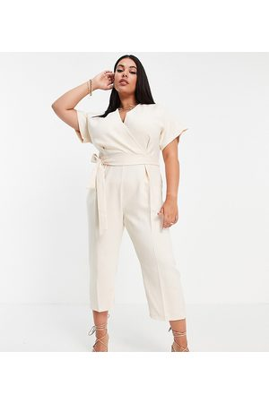 Closet London Plus Mujer Largos - Wrap waist tie kimono sleeve jumpsuit in