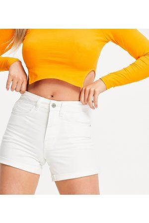 Vero Moda Petite Denim mom shorts in white