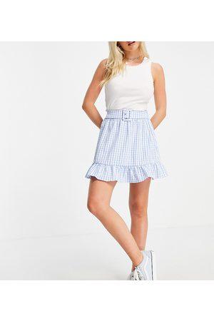 VILA Mujer Minifaldas - Mini skirt with belt in blue gingham